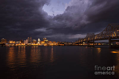 Peoria Stormy Cityscape Print by Andrea Silies