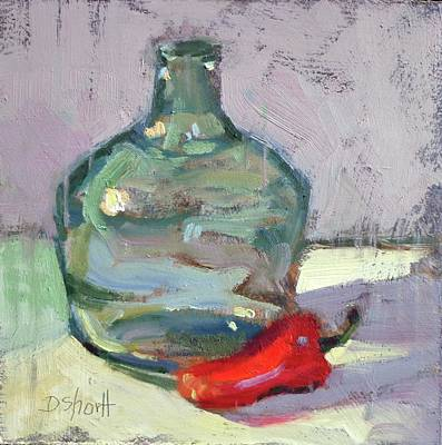 Pepper And Bottle Print by Donna Shortt