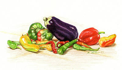 Peppers And Eggplant Still Life Original by Phyllis Tarlow