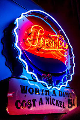 Coca-cola Sign Photograph - Pepsi Cola - Worth A Dime, Cost A Nickel by Jon Berghoff