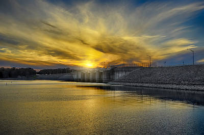 Percy Priest Dam At Sunset Print by Steven  Michael