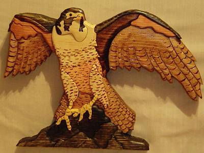 Intarsia Sculpture - Peregrine Falcon by Russell Ellingsworth