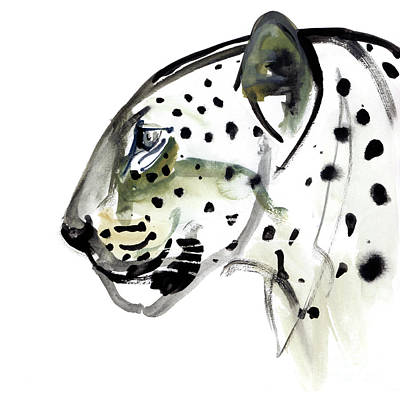 Leopard Drawing - Perfect Profile by Mark Adlington