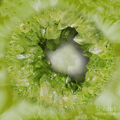 Semi Precious Stone Digital Art - Peridot Green Crystal Heart by Tina Lavoie
