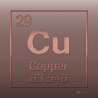 Periodic Table Of Elements - Copper - Cu - Copper On Copper Print by Serge Averbukh