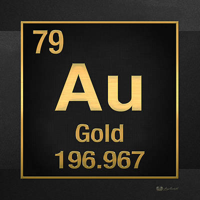 Periodic Table Of Elements - Gold - Au - Gold On Black Print by Serge Averbukh