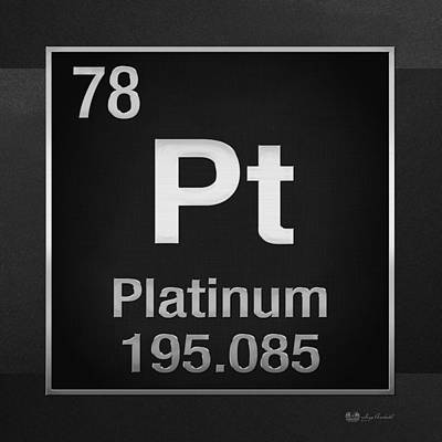 Periodic Table Of Elements - Platinum - Pt - Platinum On Black Print by Serge Averbukh