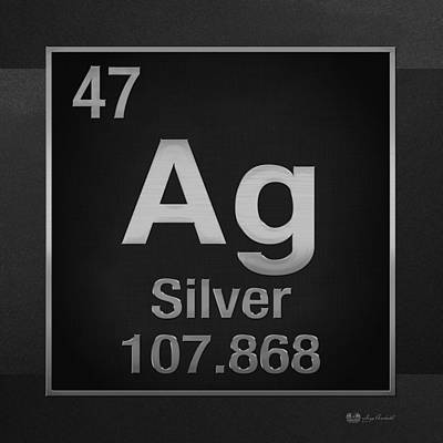 Periodic Table Of Elements - Silver - Ag - Silver On Black Print by Serge Averbukh