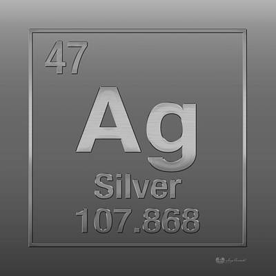 Argent Digital Art - Periodic Table Of Elements - Silver - Ag - Silver On Silver by Serge Averbukh