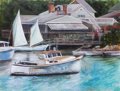 Perkins Cove Painting - Perkins Cove Trio by Susan E Hanna