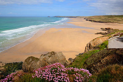 Perranporth Beach North Cornwall England One Of The Best Surfing Beaches In The Uk Print by Michael Charles