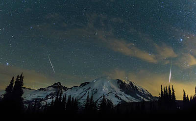 Perseids Over Mt Rainier Print by Angie Vogel