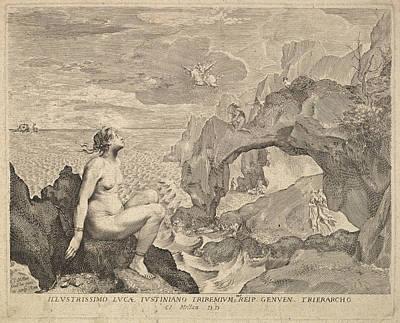 Drawing - Perseus Delivering Andromeda by Claude Mellan