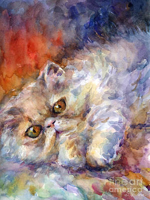 Watercolour Drawing - Persian Cat Painting by Svetlana Novikova