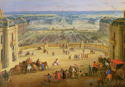Perspective View From The Chateau Of Versailles Print by Jean-Baptiste Martin