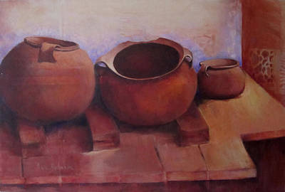 Peruvian Pots Original by Sue Lynn Johnson