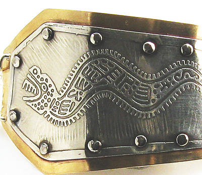 Sterling Silver Bracelet Jewelry - Peruvian Serpent Etched Silver Bracelet by Virginia Vivier