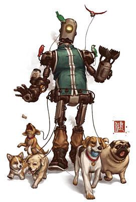 Puppy Mixed Media - Pet Walker by James Ng
