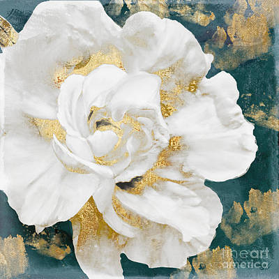 Rose Gold Painting - Petals Impasto White And Gold by Mindy Sommers