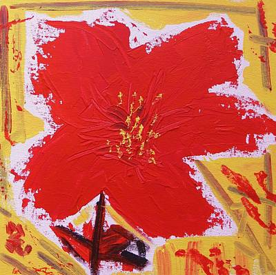 Outsider Art Painting - Petals Of Red Flame by Mary Carol Williams