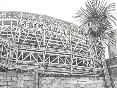 San Diego Padres Stadium Drawing - Petco Park by Juliana Dube