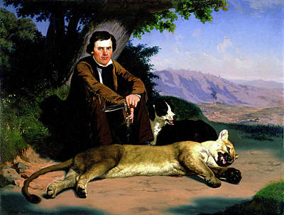 Charles Christian Nahl Painting - Peter Quivey And The Mountain Lion by Charles Christian Nahl
