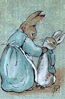 Peter Rabbit And His Mother Print by Jessica Matthews