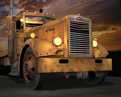 Old Trucks Digital Art - Peterbilt Ol Yeller by Stuart Swartz