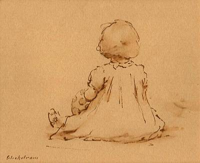 Ink Wash Drawing Drawing - Petite Fille by Thor Wickstrom