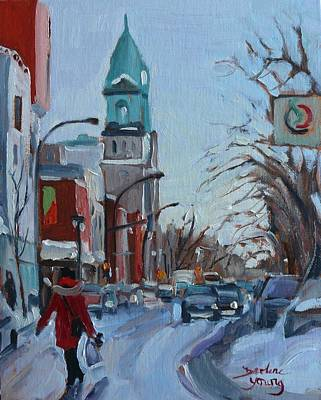 Outremont Painting - Petite Italie, Montreal Winter Scene by Darlene Young