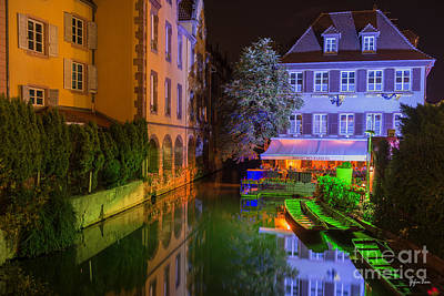Petite Venise Colmar At Night  Print by Yefim Bam