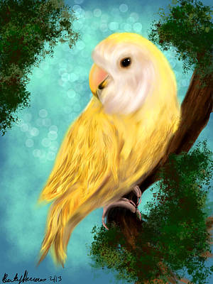 Parrot Painting - Petrie The Lovebird by Becky Herrera