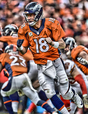 Peyton Manning Art 2 Print by Joe Hamilton