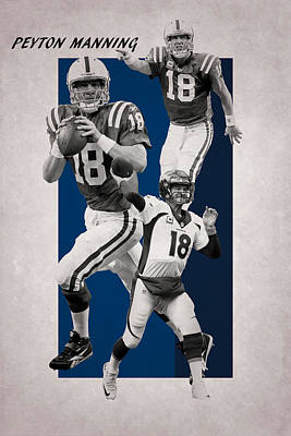 Peyton Manning Broncos Colts Print by Joe Hamilton
