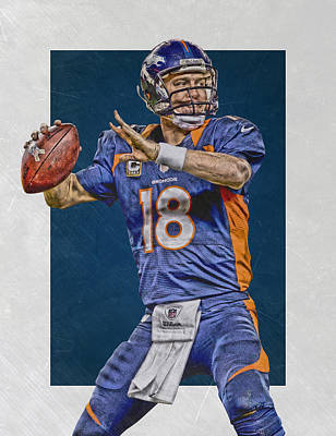 Peyton Manning Denver Broncos Art 2 Print by Joe Hamilton