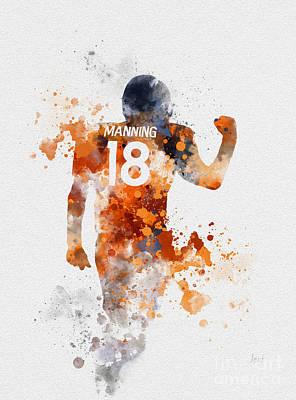 Peyton Manning Print by Rebecca Jenkins