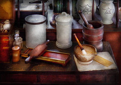 Mortar And Pestle Photograph - Pharmacist - Equipment For Making Pills  by Mike Savad