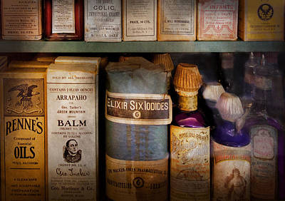 Pharmacy - Oils And Balms Print by Mike Savad