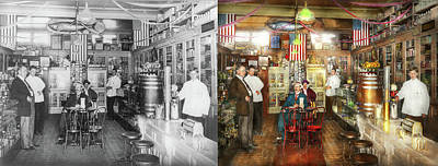 Pharmacy - Collins Pharmacy 1915 - Side By Side Print by Mike Savad