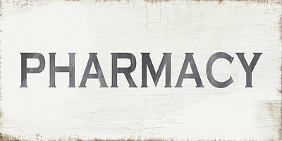Pharmacy Sign- Art By Linda Woods Print by Linda Woods