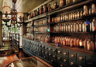 Pharmacy - So Many Drawers And Bottles Print by Mike Savad