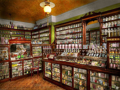 Pharmacy - The Chemist Shop Of Mr Jones 1907 Print by Mike Savad