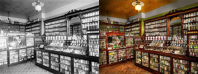 Pharmacy - The Chemist Shop Of Mr Jones 1907 - Side By Side Print by Mike Savad