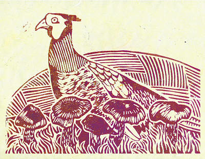 Lino Painting - Pheasant Amongst The Blewits by Becca Thorne
