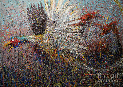 Splashy Art Painting - Pheasant And Fox by Michael Glass