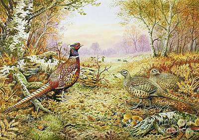 Leaves Painting - Pheasants In Woodland by Carl Donner