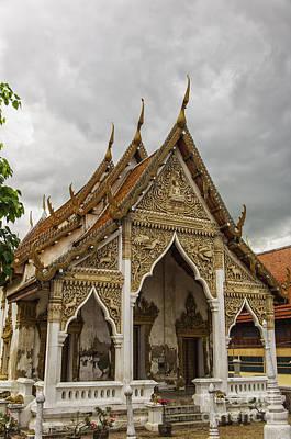 Phetchaburi Temple With Moody Sky Print by Antony McAulay