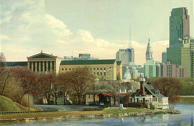 Philadelphia Skyline Painting - Philadelphia 2002 by Ed Ryder