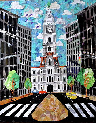 Decoupage Painting - Philadelphia by Blair Barbour