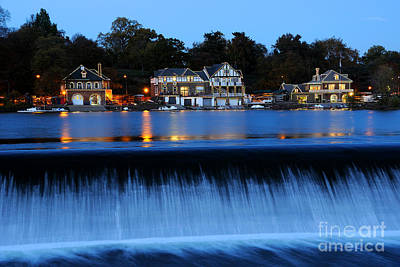 Neighborhood Photograph - Philadelphia Boathouse Row At Twilight by Gary Whitton